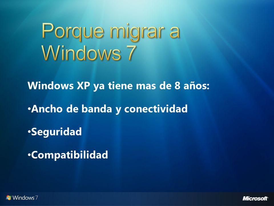 Windows XP ya tiene mas de 8 años: Ancho de banda y conectividad Seguridad Compatibilidad