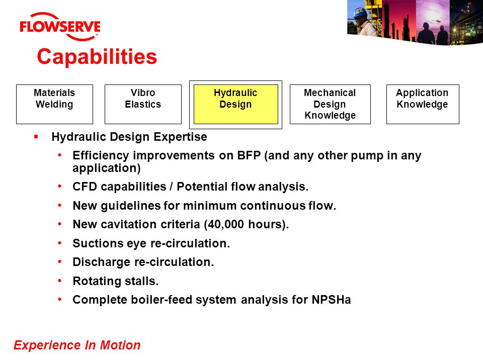 Experience In Motion Capabilities Hydraulic Design Expertise Efficiency improvements on BFP (and any other pump in any application) CFD capabilities /