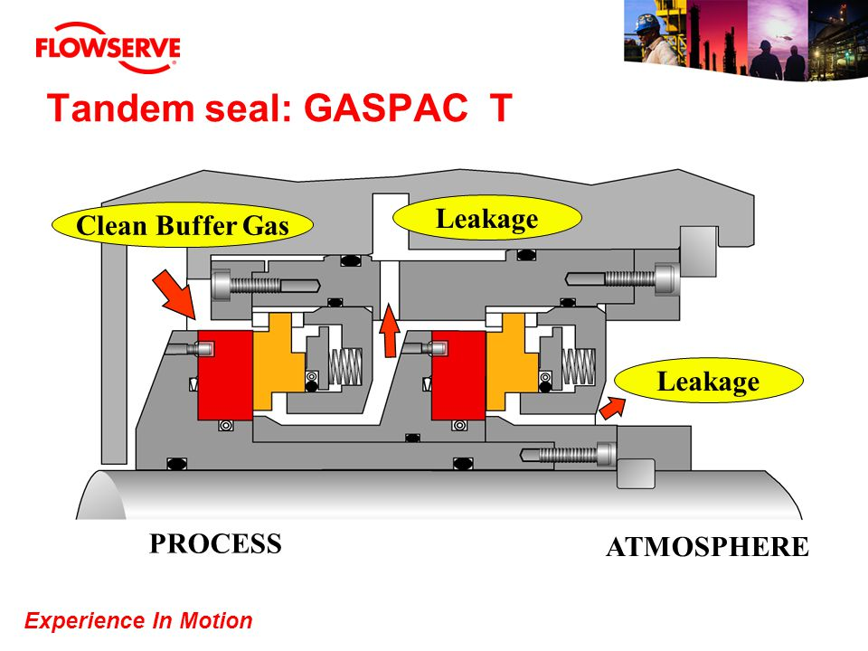 Experience In Motion Tandem seal: GASPAC T Clean Buffer Gas PROCESS ATMOSPHERE Leakage