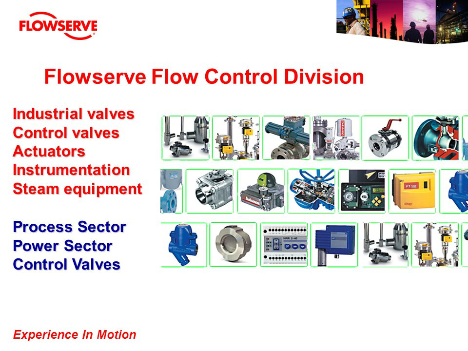 Experience In Motion Flowserve Flow Control Division Process Sector Power Sector Control Valves Industrial valves Control valves ActuatorsInstrumentat