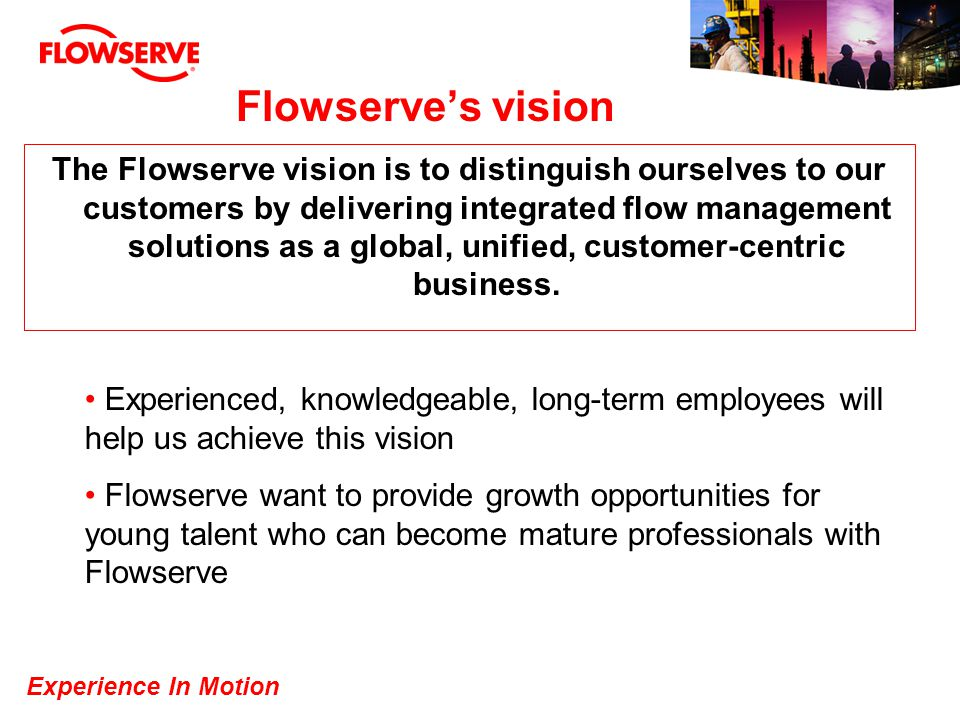 Experience In Motion Flowserves vision The Flowserve vision is to distinguish ourselves to our customers by delivering integrated flow management solu