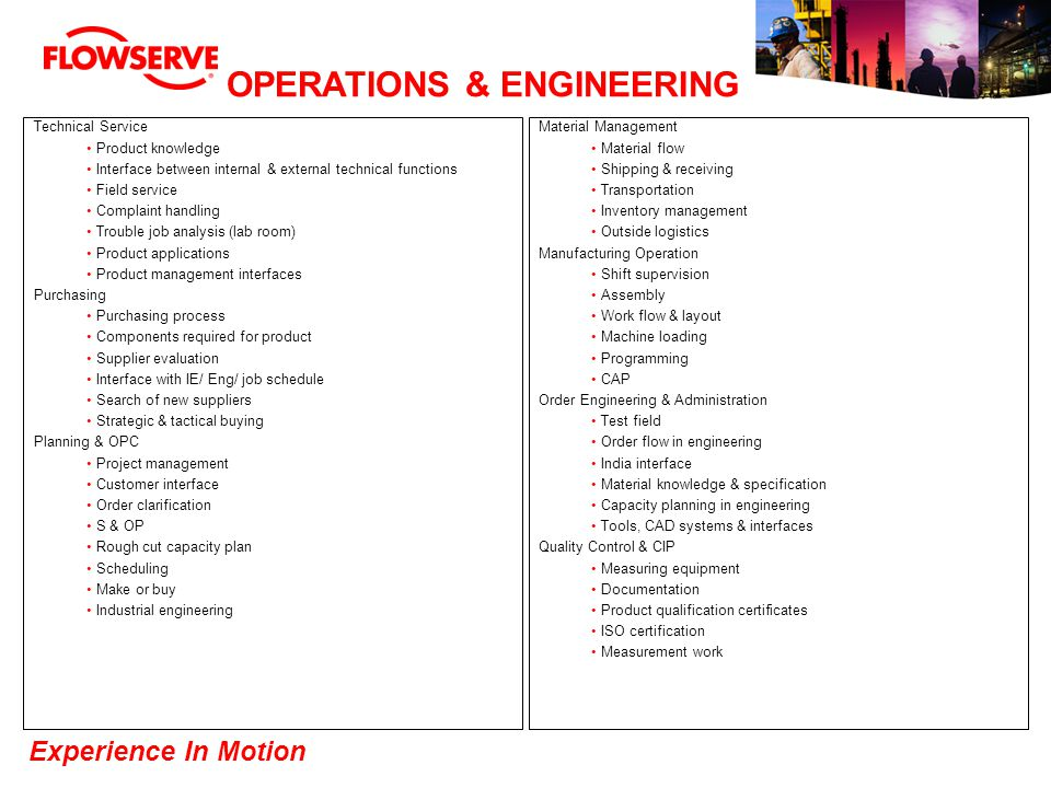 Experience In Motion OPERATIONS & ENGINEERING Technical Service Product knowledge Interface between internal & external technical functions Field serv