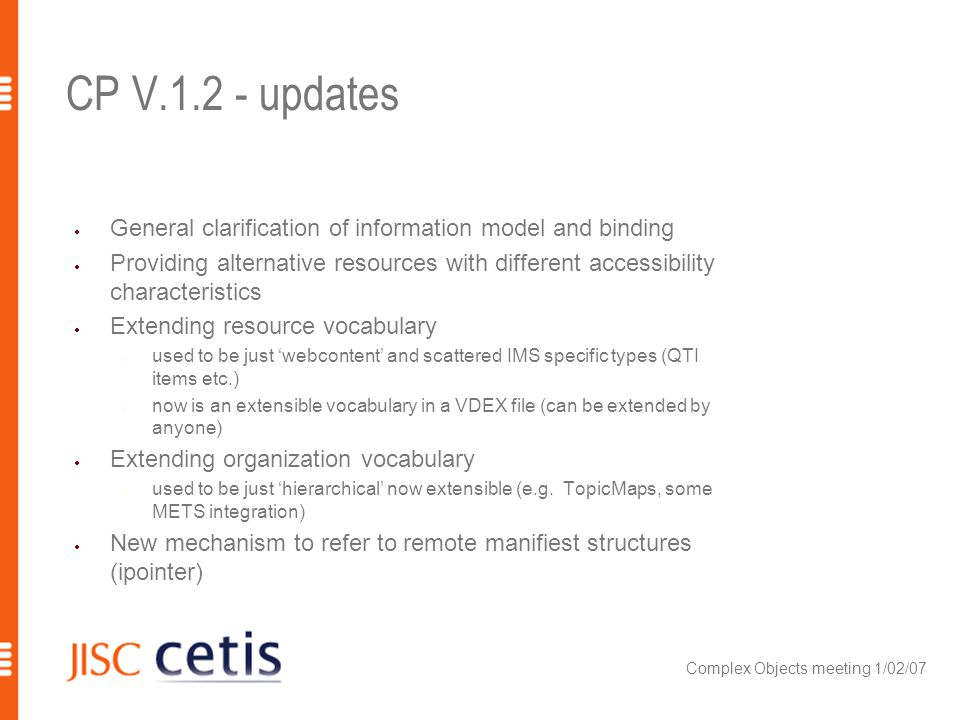 CP V.1.2 - updates General clarification of information model and binding Providing alternative resources with different accessibility characteristics