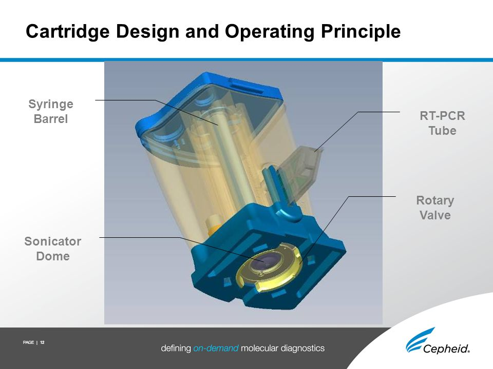 PAGE | 12 Cartridge Design and Operating Principle Sonicator Dome Rotary Valve Syringe Barrel RT-PCR Tube