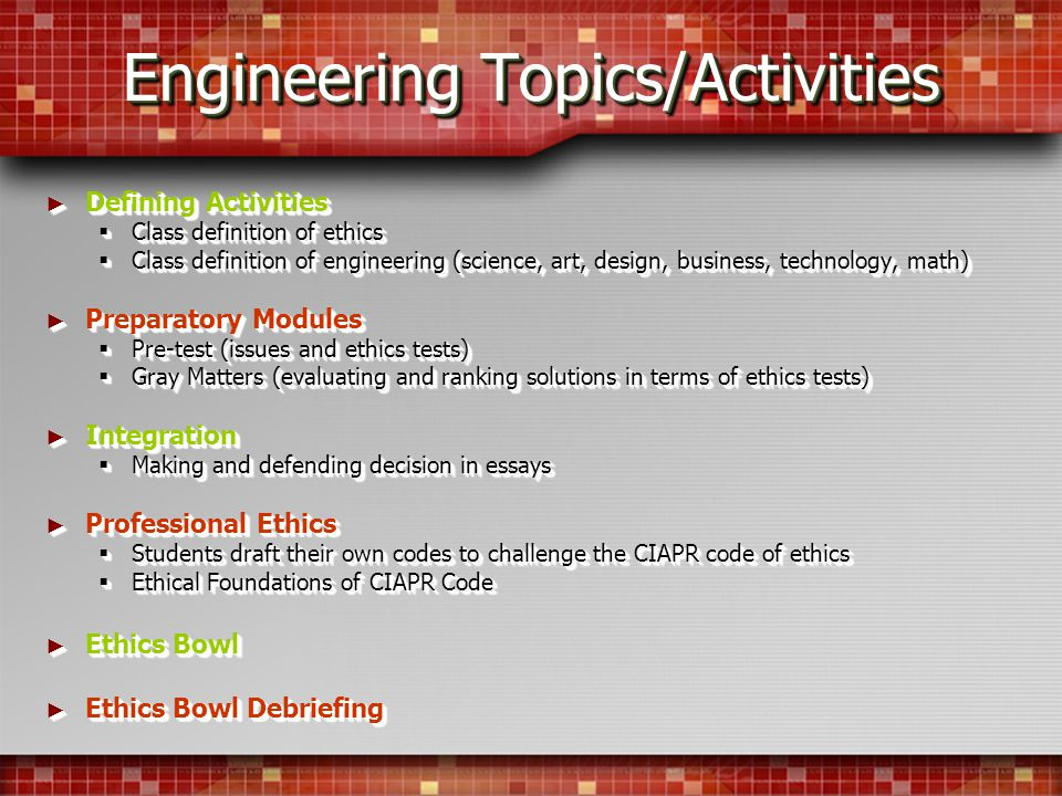 Engineering Topics/Activities Defining Activities Defining Activities Class definition of ethics Class definition of ethics Class definition of engineering (science, art, design, business, technology, math) Class definition of engineering (science, art, design, business, technology, math) Preparatory Modules Preparatory Modules Pre-test (issues and ethics tests) Pre-test (issues and ethics tests) Gray Matters (evaluating and ranking solutions in terms of ethics tests) Gray Matters (evaluating and ranking solutions in terms of ethics tests) Integration Integration Making and defending decision in essays Making and defending decision in essays Professional Ethics Professional Ethics Students draft their own codes to challenge the CIAPR code of ethics Students draft their own codes to challenge the CIAPR code of ethics Ethical Foundations of CIAPR Code Ethical Foundations of CIAPR Code Ethics Bowl Ethics Bowl Ethics Bowl Debriefing Ethics Bowl Debriefing Defining Activities Defining Activities Class definition of ethics Class definition of ethics Class definition of engineering (science, art, design, business, technology, math) Class definition of engineering (science, art, design, business, technology, math) Preparatory Modules Preparatory Modules Pre-test (issues and ethics tests) Pre-test (issues and ethics tests) Gray Matters (evaluating and ranking solutions in terms of ethics tests) Gray Matters (evaluating and ranking solutions in terms of ethics tests) Integration Integration Making and defending decision in essays Making and defending decision in essays Professional Ethics Professional Ethics Students draft their own codes to challenge the CIAPR code of ethics Students draft their own codes to challenge the CIAPR code of ethics Ethical Foundations of CIAPR Code Ethical Foundations of CIAPR Code Ethics Bowl Ethics Bowl Ethics Bowl Debriefing Ethics Bowl Debriefing