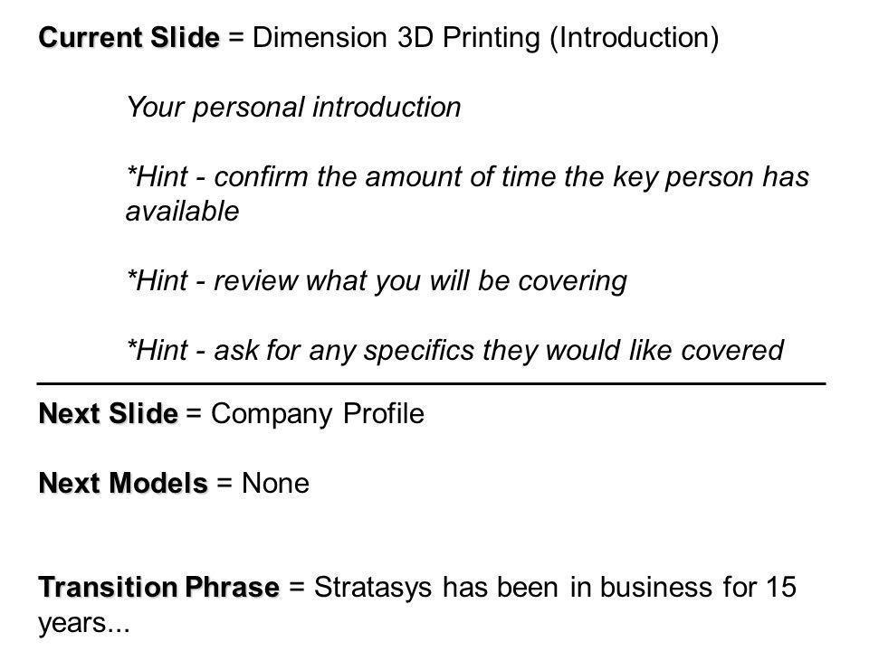 Current Slide Current Slide = Dimension Summary Current Models Current Models = None Next Slide Next Slide = Next Step...
