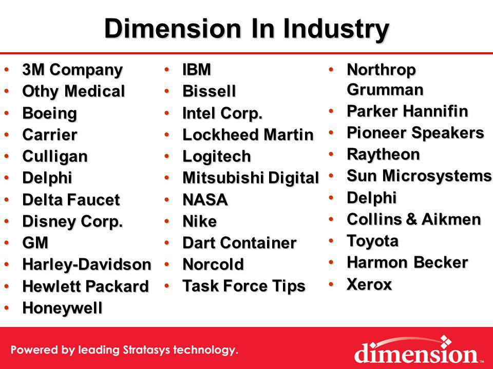 Dimension In Industry 3M Company3M Company Othy MedicalOthy Medical BoeingBoeing CarrierCarrier CulliganCulligan DelphiDelphi Delta FaucetDelta Faucet Disney Corp.Disney Corp.