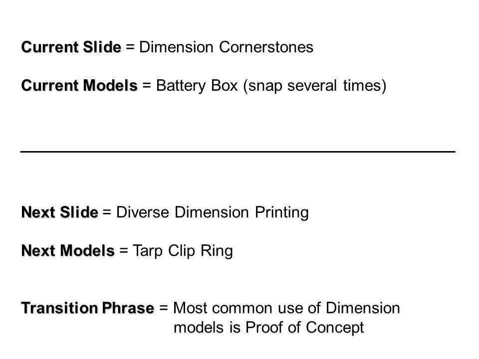 Current Slide Current Slide = Dimension Cornerstones Current Models Current Models = Battery Box (snap several times) Next Slide Next Slide = Diverse Dimension Printing Next Models Next Models = Tarp Clip Ring Transition Phrase Transition Phrase = Most common use of Dimension models is Proof of Concept
