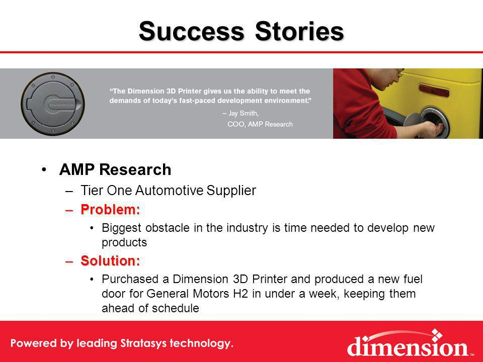 Success Stories AMP Research –Tier One Automotive Supplier –Problem: Biggest obstacle in the industry is time needed to develop new products –Solution