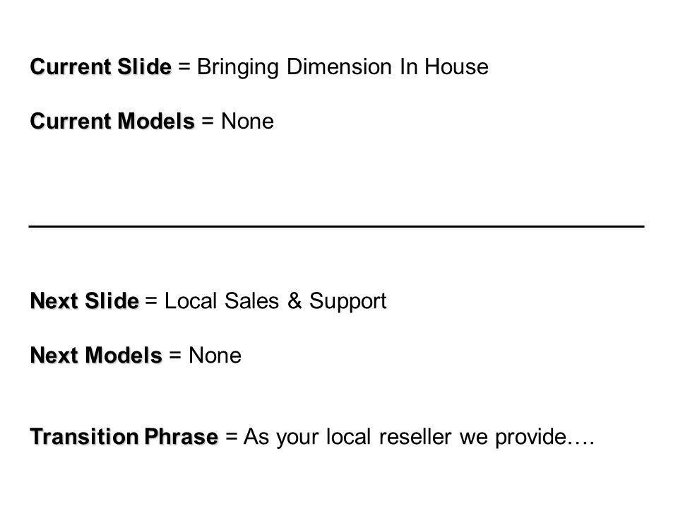 Current Slide Current Slide = Bringing Dimension In House Current Models Current Models = None Next Slide Next Slide = Local Sales & Support Next Models Next Models = None Transition Phrase Transition Phrase = As your local reseller we provide….