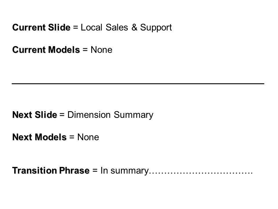 Current Slide Current Slide = Local Sales & Support Current Models Current Models = None Next Slide Next Slide = Dimension Summary Next Models Next Models = None Transition Phrase Transition Phrase = In summary…………………………….