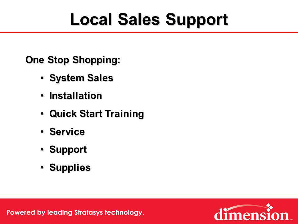 One Stop Shopping: System Sales System Sales Installation Installation Quick Start Training Quick Start Training Service Service Support Support Suppl