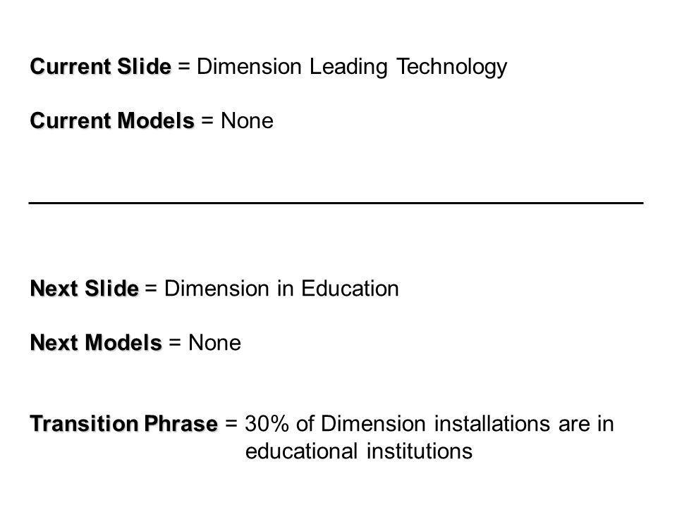 Current Slide Current Slide = Dimension Leading Technology Current Models Current Models = None Next Slide Next Slide = Dimension in Education Next Models Next Models = None Transition Phrase Transition Phrase = 30% of Dimension installations are in educational institutions