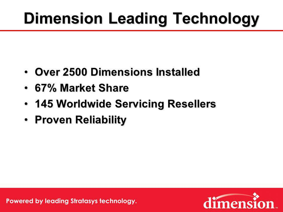 Dimension Leading Technology Over 2500 Dimensions InstalledOver 2500 Dimensions Installed 67% Market Share67% Market Share 145 Worldwide Servicing Resellers145 Worldwide Servicing Resellers Proven ReliabilityProven Reliability
