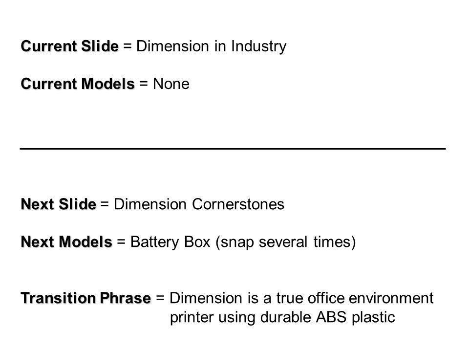 Current Slide Current Slide = Local Sales & Support Current Models Current Models = None Next Slide Next Slide = Dimension Summary Next Models Next Models = None Transition Phrase Transition Phrase = In summary…………………………….