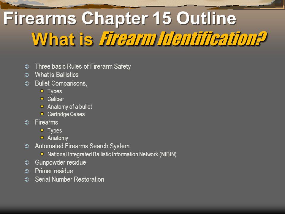 What is Firearm Identification? Firearms Chapter 15 Outline What is Firearm Identification? Three basic Rules of Firerarm Safety What is Ballistics Bu