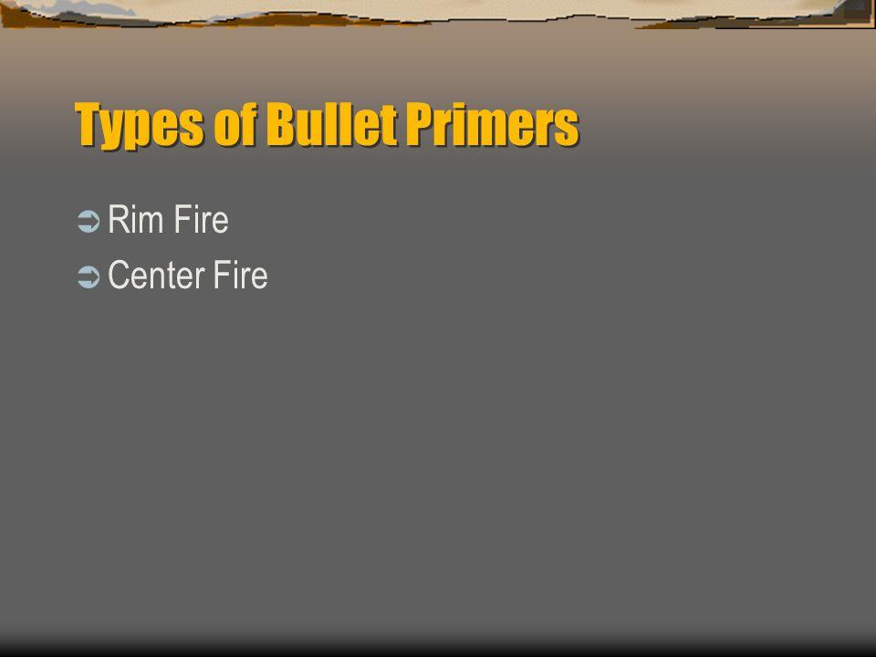 Types of Bullet Primers Rim Fire Center Fire