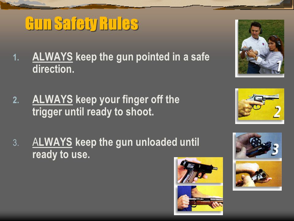 Gun Safety Rules 1. ALWAYS keep the gun pointed in a safe direction. 2. ALWAYS keep your finger off the trigger until ready to shoot. 3. A LWAYS keep