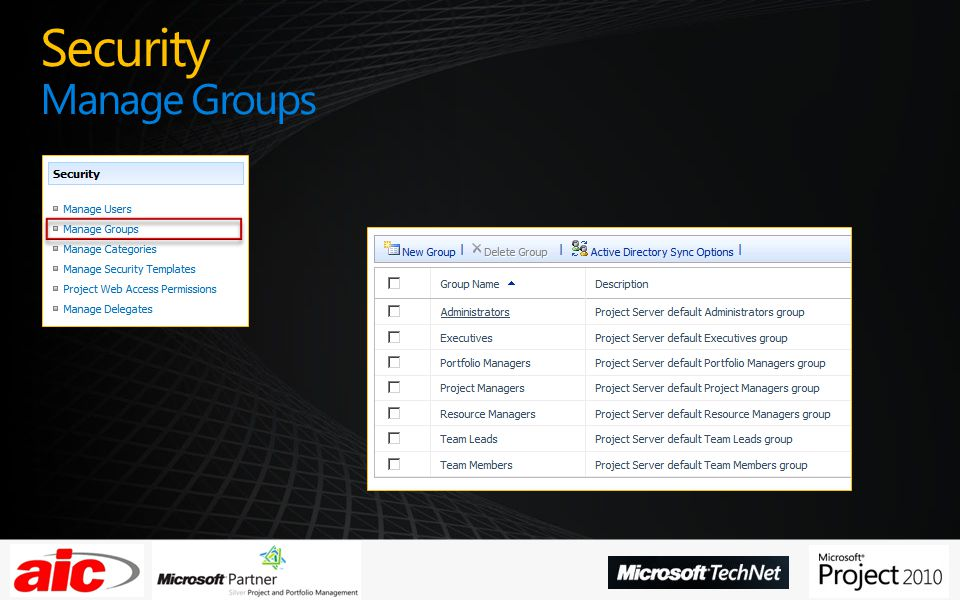 Security Manage Groups