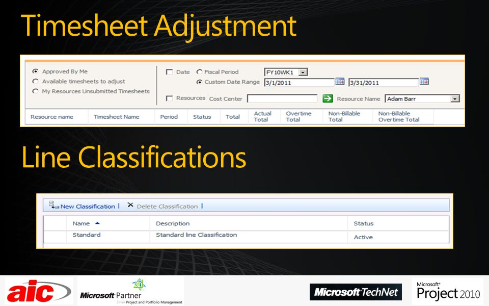 Timesheet Adjustment Line Classifications