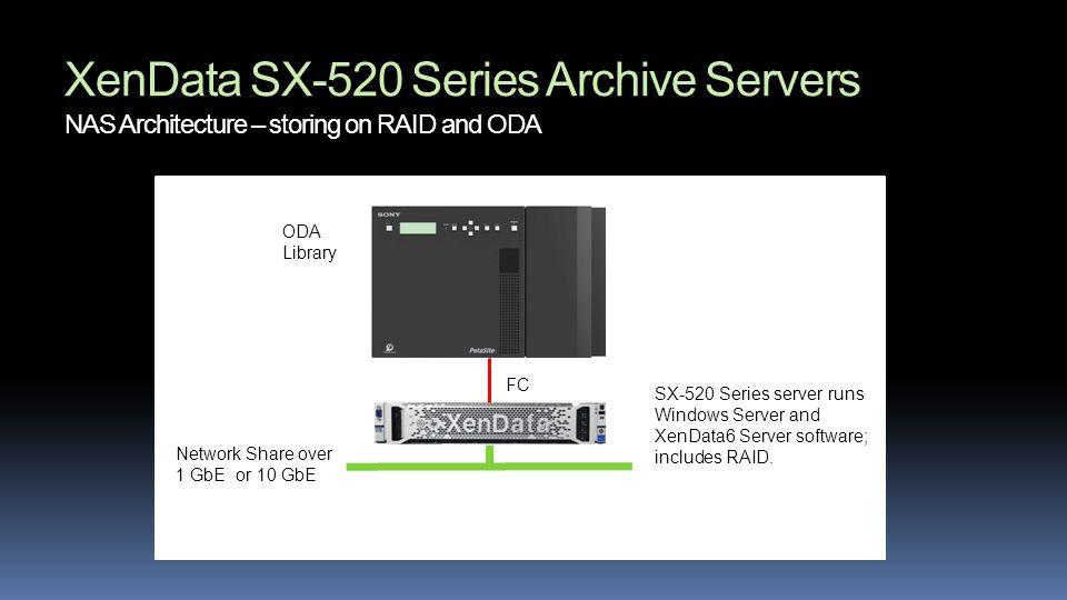 XenData SX-520 Series Archive Servers NAS Architecture – storing on RAID and ODA SX-520 Series server runs Windows Server and XenData6 Server software