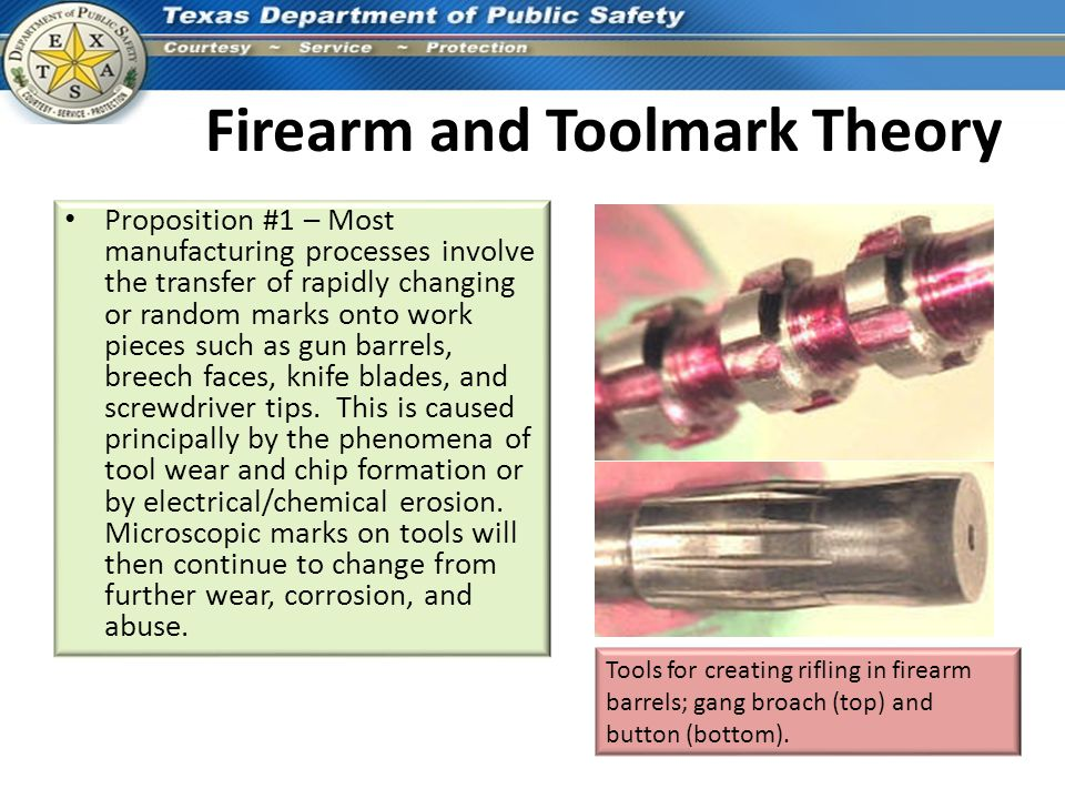 Firearm and Toolmark Theory Proposition #1 – Most manufacturing processes involve the transfer of rapidly changing or random marks onto work pieces su