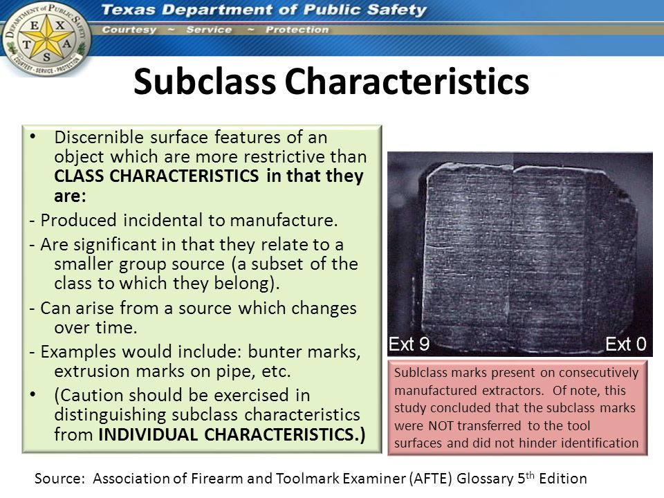 Subclass Characteristics Discernible surface features of an object which are more restrictive than CLASS CHARACTERISTICS in that they are: - Produced