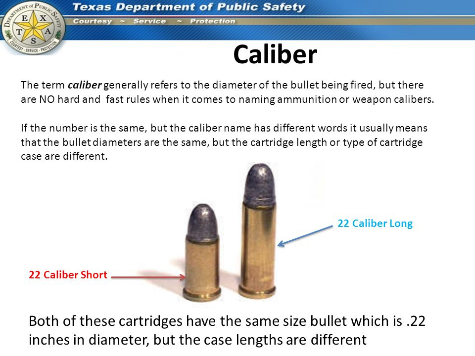 Caliber The term caliber generally refers to the diameter of the bullet being fired, but there are NO hard and fast rules when it comes to naming ammu