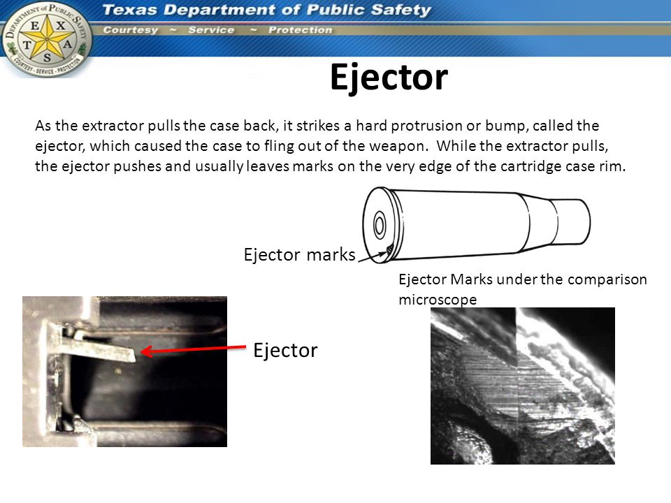 Ejector As the extractor pulls the case back, it strikes a hard protrusion or bump, called the ejector, which caused the case to fling out of the weap
