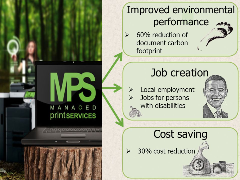 Improved environmental performance Job creation Cost saving Local employment Jobs for persons with disabilities 60% reduction of document carbon footp