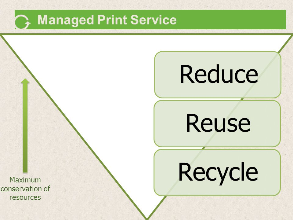 Managed Print Service Maximum conservation of resources ReduceReuseRecycle