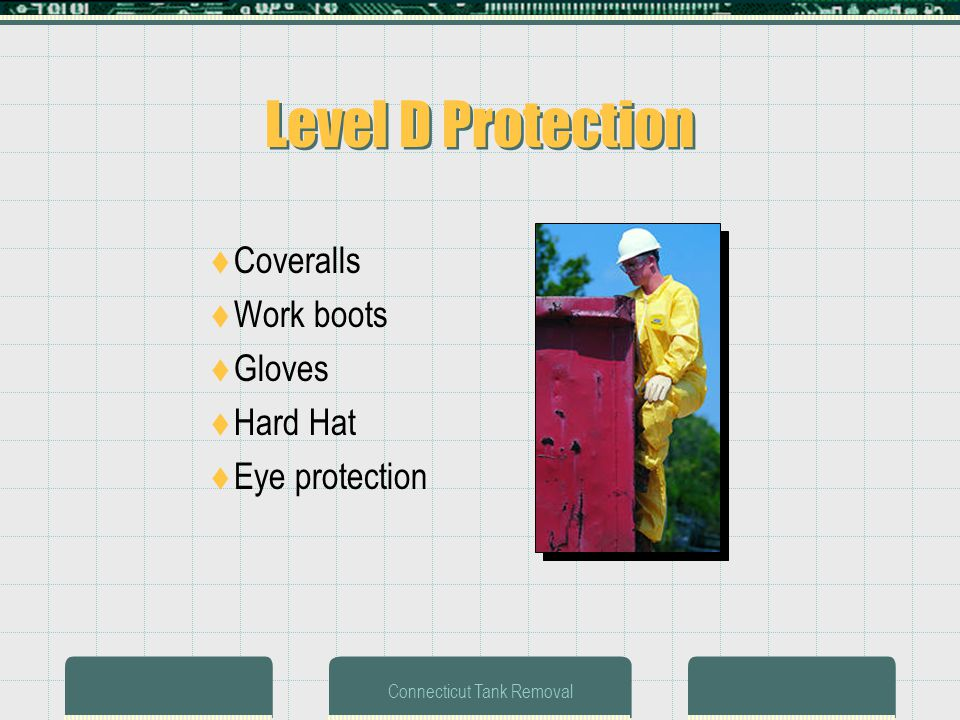 Connecticut Tank Removal Level D Protection Coveralls Work boots Gloves Hard Hat Eye protection