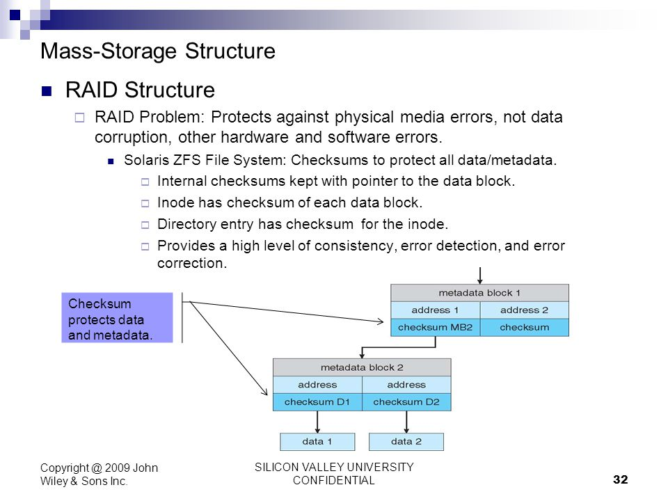 SILICON VALLEY UNIVERSITY CONFIDENTIAL 32 Mass-Storage Structure RAID Structure RAID Problem: Protects against physical media errors, not data corrupt
