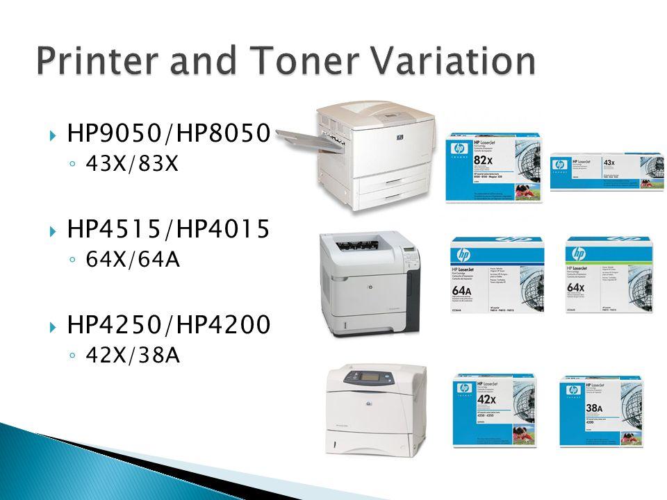 HP9050/HP8050 43X/83X HP4515/HP4015 64X/64A HP4250/HP4200 42X/38A