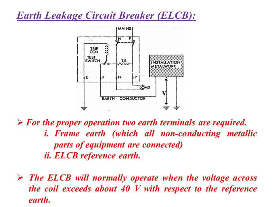 Earth Leakage Circuit Breaker (ELCB): For the proper operation two earth terminals are required. i.Frame earth (which all non-conducting metallic part