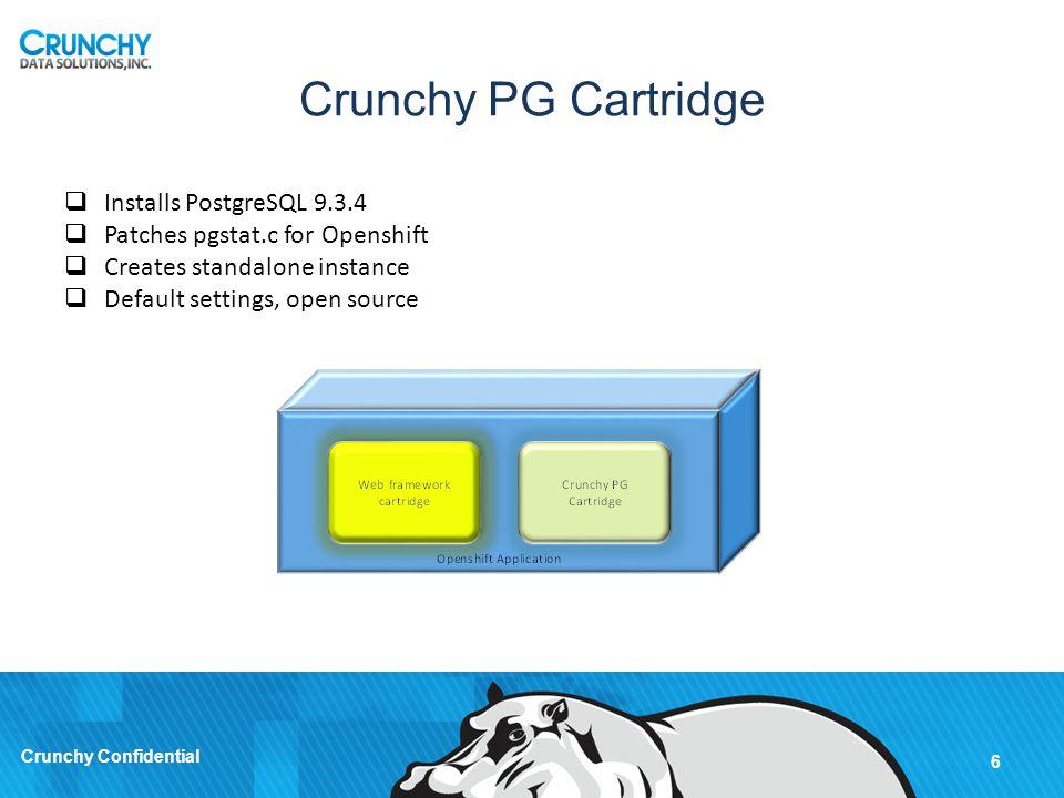 Crunchy PostgreSQL Cartridge 7 Crunchy Confidential Demonstration of standalone postgres built using the base cartridge