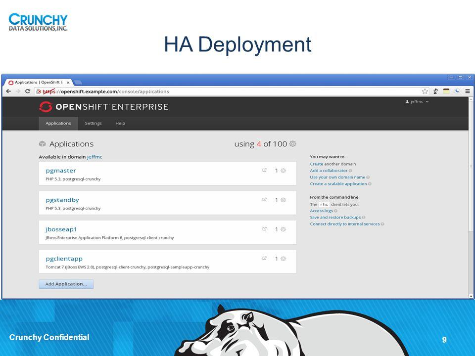 HA Deployment Cont. 10 Crunchy Confidential