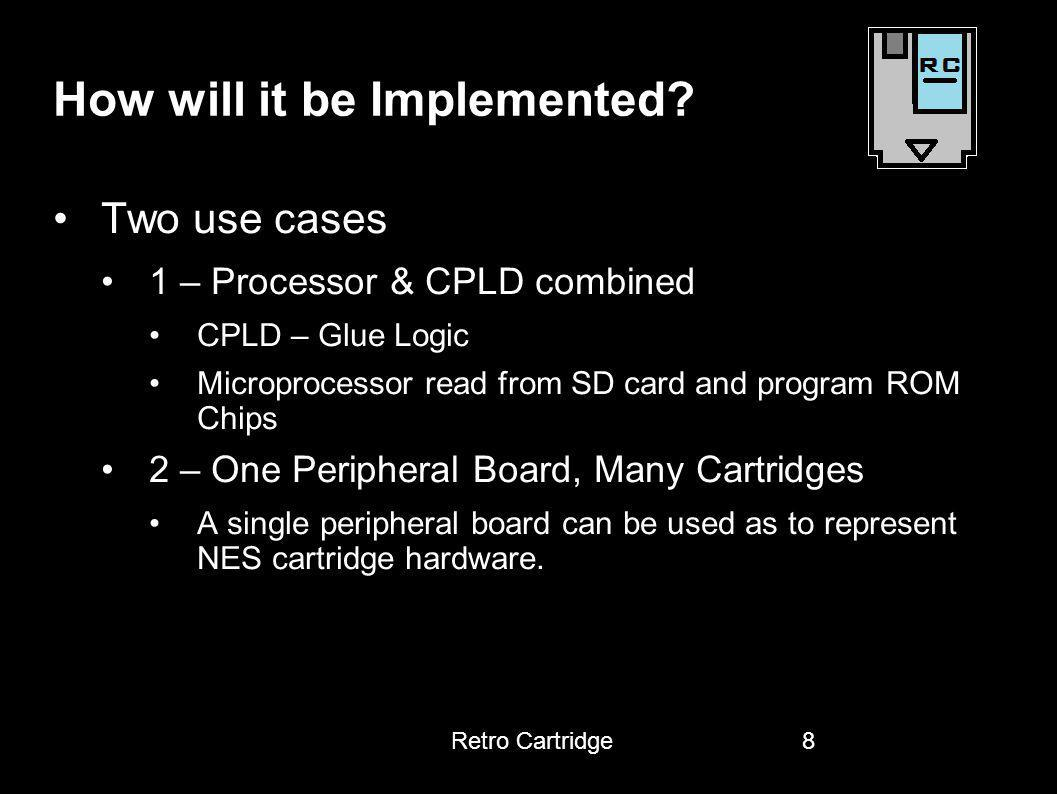 How will it be Implemented? Two use cases 1 – Processor & CPLD combined CPLD – Glue Logic Microprocessor read from SD card and program ROM Chips 2 – O