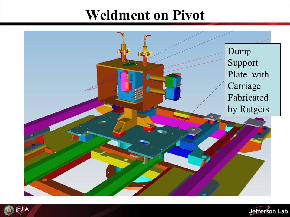 Weldment on Pivot Dump Support Plate with Carriage Fabricated by Rutgers
