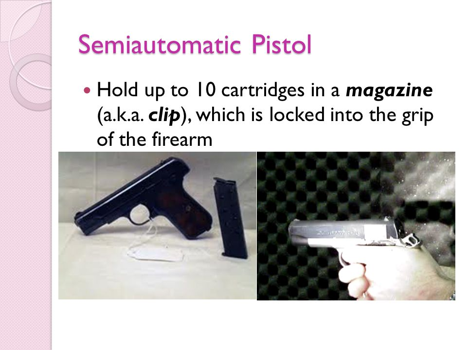 Semiautomatic Pistol Hold up to 10 cartridges in a magazine (a.k.a.