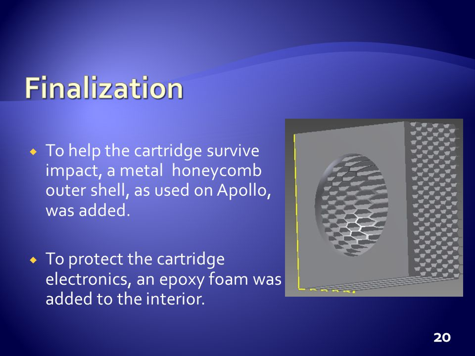 To help the cartridge survive impact, a metal honeycomb outer shell, as used on Apollo, was added.