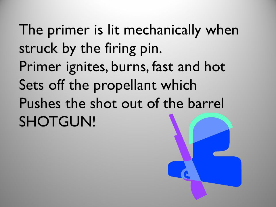 The primer is lit mechanically when struck by the firing pin.