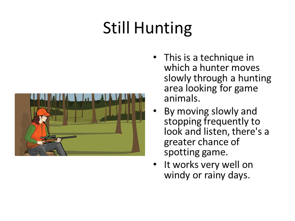 Still Hunting This is a technique in which a hunter moves slowly through a hunting area looking for game animals. By moving slowly and stopping freque