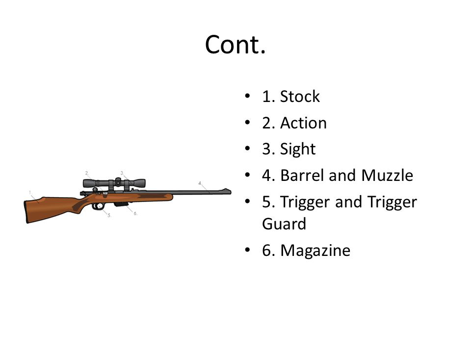 Cont. 1. Stock 2. Action 3. Sight 4. Barrel and Muzzle 5. Trigger and Trigger Guard 6. Magazine