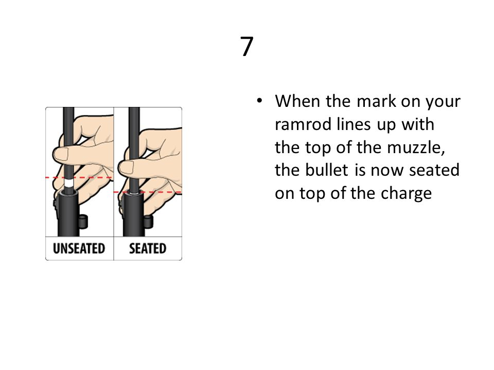 7 When the mark on your ramrod lines up with the top of the muzzle, the bullet is now seated on top of the charge