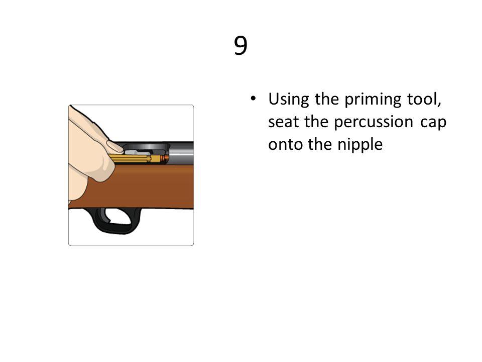 9 Using the priming tool, seat the percussion cap onto the nipple