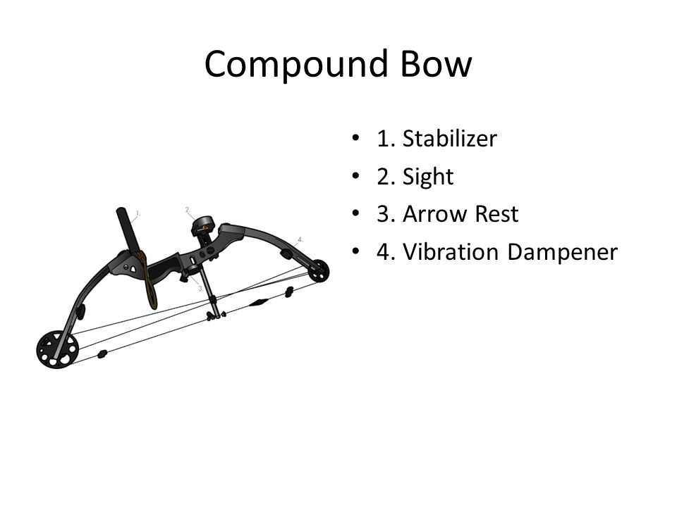 Compound Bow 1. Stabilizer 2. Sight 3. Arrow Rest 4. Vibration Dampener