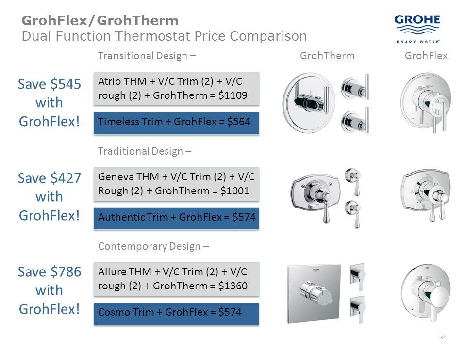 34 GrohFlex/GrohTherm Dual Function Thermostat Price Comparison Atrio THM + V/C Trim (2) + V/C rough (2) + GrohTherm = $1109 Transitional Design – Tim