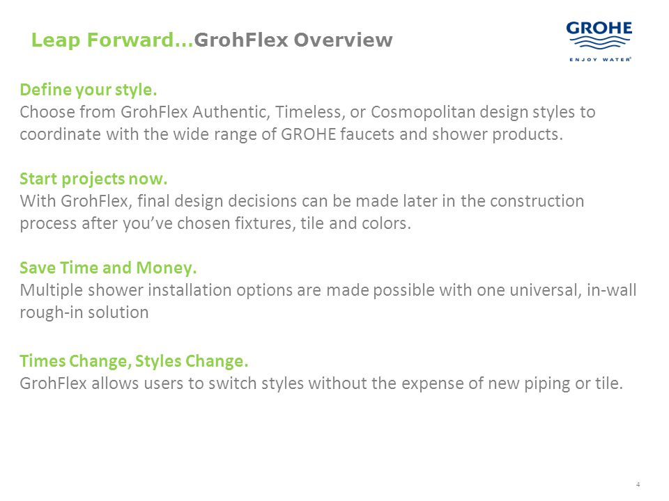 4 Leap Forward…GrohFlex Overview Define your style. Choose from GrohFlex Authentic, Timeless, or Cosmopolitan design styles to coordinate with the wid