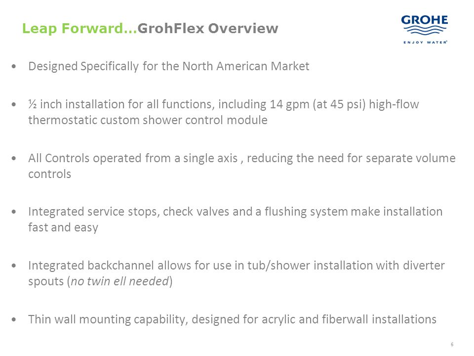47 Integrated 2 way diverter GrohFlex Functions: Dual Function PBV/THERM
